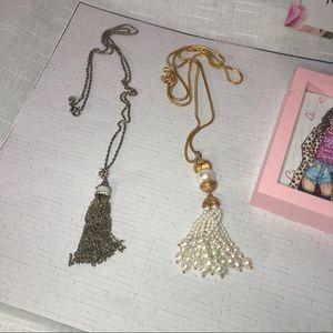 Bundle drop necklaces, 1- silver 1- gold